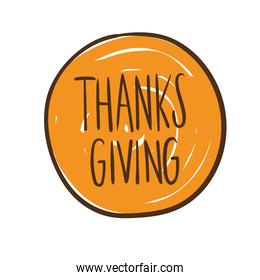 happy thanksgiving day celebration lettering hand draw style