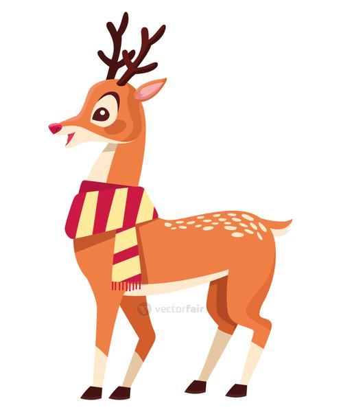 cute christmas deer with scarf character