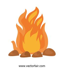 camp fire flame isolated icon