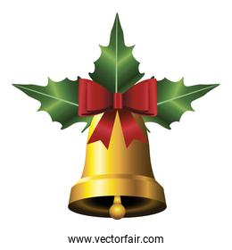 happy merry christmas golden bell with leafs and bow icon