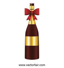 happy merry christmas champagne bottle with bow