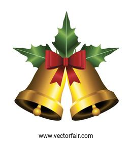 happy merry christmas golden bells with leafs and bow