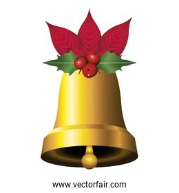 happy merry christmas golden bell with leafs and bow