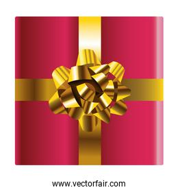 happy merry christmas gift red with golden bow icon