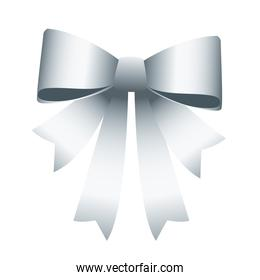 happy merry christmas silver bow ribbon