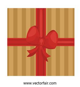 happy merry christmas red bow ribbon in golden gift