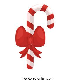 happy merry christmas cane with bow ribbon