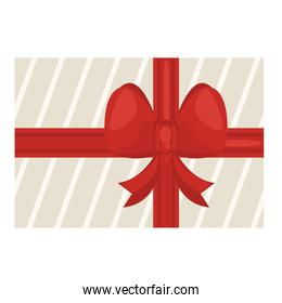 happy merry christmas gift with red bow ribbon icon