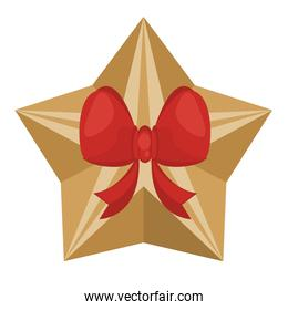 happy merry christmas star gift golden and bow ribbon
