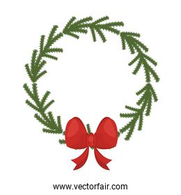 happy merry christmas wreath with bow ribbon