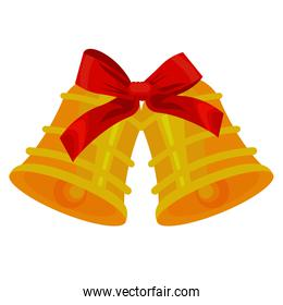 happy merry christmas golden bells and bow