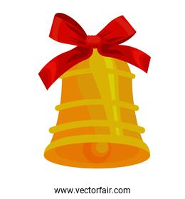 happy merry christmas golden bell and bow ribbon