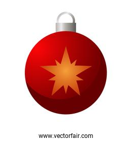 happy merry christmas red ball with golden star hanging icon