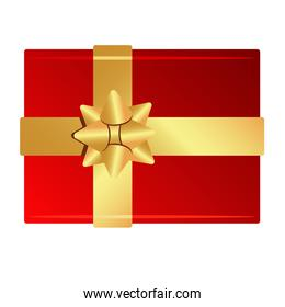 happy merry christmas red gift and golden ribbon icon