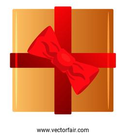 happy merry christmas golden gift and red ribbon isolated icon