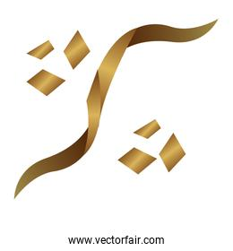 golden ribbon confetti decorative icon