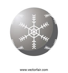 happy merry christmas silver ball with snowflake icon