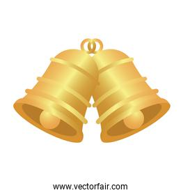 happy merry christmas golden bells isolated icon