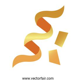 golden ribbon confetti decorative isolated icon