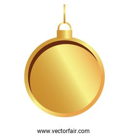 happy merry christmas golden ball hanging icon