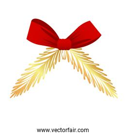 happy merry christmas bow ribbon with golden firs