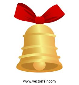 happy merry christmas golden bell with red bow