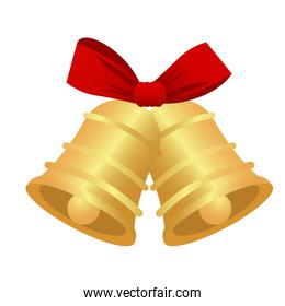 happy merry christmas golden bells with red bow
