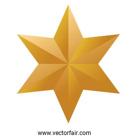 happy merry christmas golden star with six points
