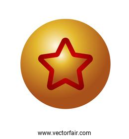 happy merry christmas golden ball with red star decorative icon