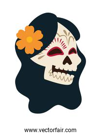 traditional mexican katrina skull with flower and long hair head