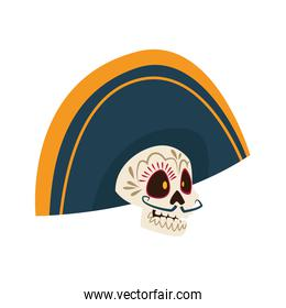 traditional mexican mariachi skull with hat character
