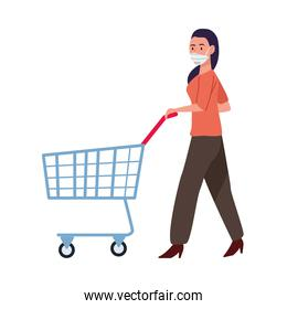 woman wearing medical mask with shopping cart character