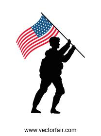 soldier lifting united states of america flag in pole