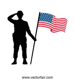 soldier with united states of america flag in pole
