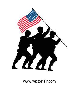 soldiers with united states of america flag in pole