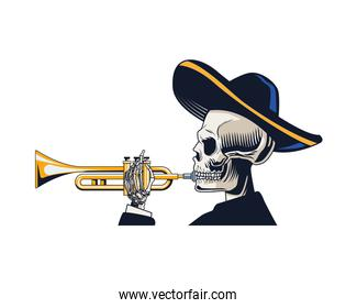 traditional mexican mariachi skull character