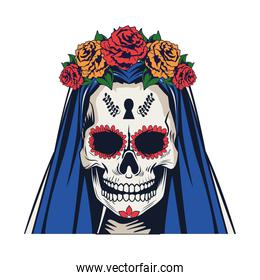 traditional mexican katrina skull with roses and blue hair head