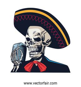 traditional mexican mariachi skull singing with microphone character