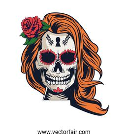 traditional mexican katrina skull with rose head