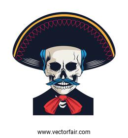 traditional mexican mariachi skull with mustache character