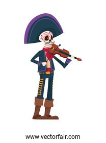 traditional mexican mariachi skull playing fiddle character