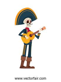 traditional mexican mariachi skull playing guitar character