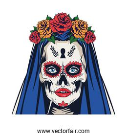 traditional mexican katrina skull with roses and blue hair head icon
