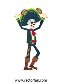 traditional mexican mariachi skull playing maracas character