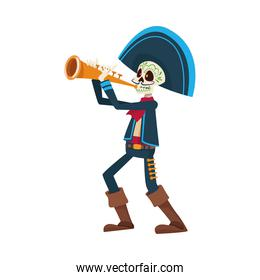 traditional mexican mariachi skull playing trumpet character