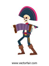 traditional mexican mariachi skull playing accordion character