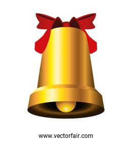 happy merry christmas golden bell and ribbon red