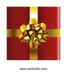 happy merry christmas red packing gift and golden bow