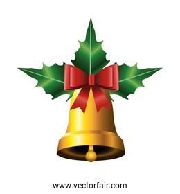 happy merry christmas golden bell and ribbon red and leafs