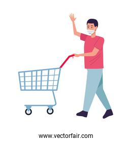 man wearing medical mask with shopping cart character